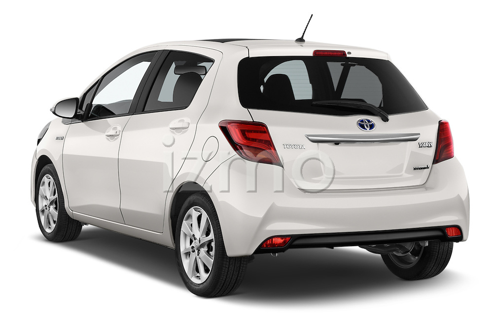 Car pictures of rear three quarter view of a 2015 Toyota Yaris Hybride Lounge 5 Door Hatchback 2WD Angular Rear