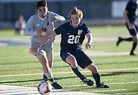 NWA Democrat-Gazette/CHARLIE KAIJO Springdale High School Gabriel Guardado (14) dribbles during a soccer game, Friday, March 15, 2019 at Bentonville West in Centerton.