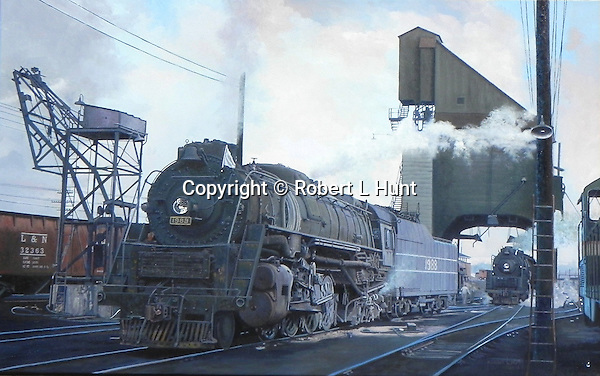 "A Louisville and Nashville Railroad M1 at leaving the coaling dock at DeCoursey, Kentucky yard in 1956, the last year of steam operations on that line. Oil on canvas, 20"" x 30""."