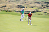 Ben Westgate (WAL) on the 14th green during the Afternoon Singles between Ireland and Wales at the Home Internationals at Royal Portrush Golf Club on Thursday 13th August 2015.<br /> Picture:  Thos Caffrey / www.golffile.ie