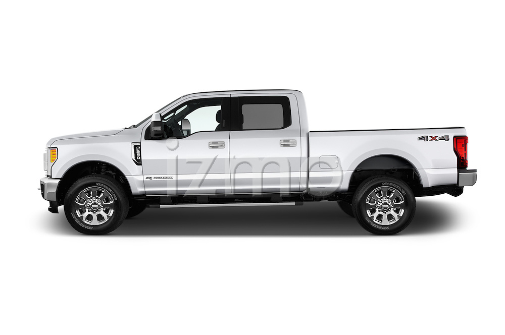Car Driver side profile view of a 2017 Ford F-250 Lariat-Crew-Cab 4 Door Pickup Side View