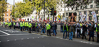 London, 11/10/2015. Today, several thousand Turkish and Kurdish people united held a demonstration outside N.10 Downing Street, and subsequently marched to the BBC HQ in Portland place. The demonstration was called against the bombing attack at a peace protest in Ankara on the 10 October 2015 were more than 100 innocent people were killed and more than 500 people were seriously injured. From the organiser Facebook page: <<[…] We demand peace. We are gathering in London for a solidarity protest with those killed and those who stand for peace in Turkey. End state terror now! Unite against State terror!>>.<br />