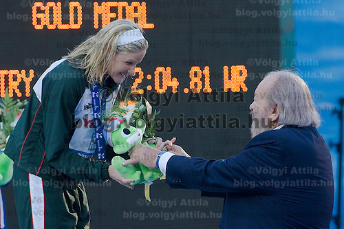 Actor Bud Spencer presenting awards to Kirsy Coventry (ZIM), winner of the 200 Women's Backstroke swimming competition during the 13th FINA Swimming World Championships held in Rome, Italy. Friday, 31. July 2009. ATTILA VOLGYI