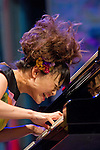 A moment of the performance of the composer of jazz and Japanese pianist Hiromi in the Plaza Trinidad during the 48 Heineken Jazzaldia