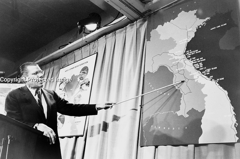 United States Secretary of Defense Robert McNamara adress the media , during the VietNam War.<br /> <br /> Robert Strange McNamara (born June 9, 1916) is an American business executive and a former United States Secretary of Defense. McNamara served as U.S. Secretary of Defense from 1961 to 1968, during the Vietnam War. After holding that position he became President of the World Bank (1968-1981). McNamara was responsible for the institution of systems analysis in public policy, which developed into the discipline known today as policy analysis.[1]
