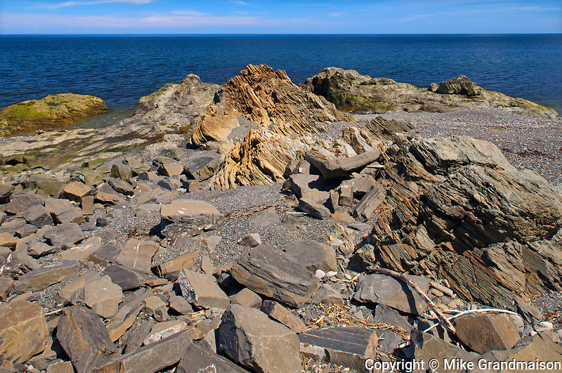 Rocky shoreline of Gulf of St. Lawrence. Gaspé Peninsula. , , Quebec, Canada