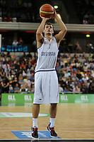 GB's Devon Van Oostrum free throw during the EuroBasket 2015 2nd Qualifying Round Great Britain v Bosnia & Herzegovina (Euro Basket 2nd Qualifying Round) at Copper Box Arena in London. - 13/08/2014