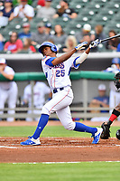 Tennessee Smokies right fielder Roberto Caro (25) swings at a pitch during a game against the Birmingham Barons at Smokies Stadium on May 15, 2019 in Kodak, Tennessee. The Smokies defeated the Barons 7-3. (Tony Farlow/Four Seam Images)
