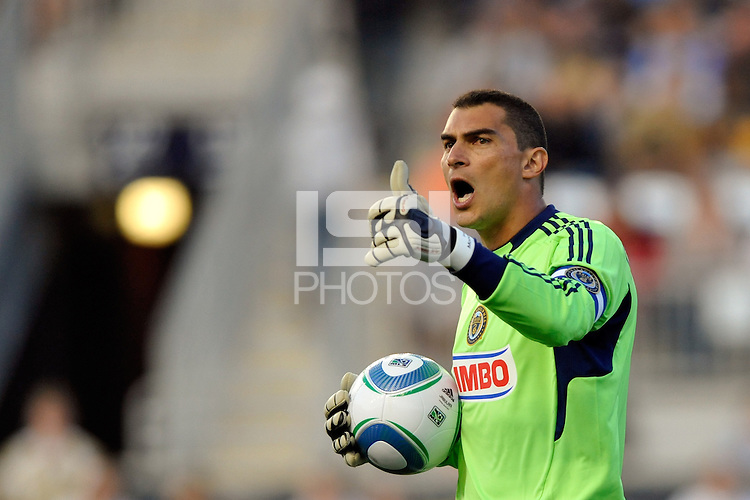 Philadelphia Union goalkeeper Faryd Mondragon (1). The Philadelphia Union  and the Los Angeles Galaxy played to a 1-1 tie during a Major League Soccer (MLS) match at PPL Park in Chester, PA, on May 11, 2011.