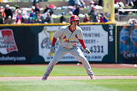 Stephen Piscotty (22) of the Memphis Redbirds in action against the Omaha Storm Chasers in Pacific Coast League action at Werner Park on April 22, 2015 in Papillion, Nebraska.  (Stephen Smith/Four Seam Images)
