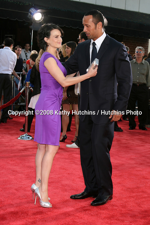 """Carla Gugino & Dwayne Johnson arriving at the Premiere of """"Get Smart""""  at Mann's Village Theater in Westwood, CA.June 16, 2008.©2008 Kathy Hutchins / Hutchins Photo ."""