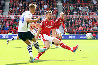 Preston North End's Brad Potts gets the ball past Nottingham Forest's Jack Robinson<br /> <br /> Photographer David Shipman/CameraSport<br /> <br /> The EFL Sky Bet Championship - Nottingham Forest v Preston North End - Saturday 31st August 2019 - The City Ground - Nottingham<br /> <br /> World Copyright © 2019 CameraSport. All rights reserved. 43 Linden Ave. Countesthorpe. Leicester. England. LE8 5PG - Tel: +44 (0) 116 277 4147 - admin@camerasport.com - www.camerasport.com