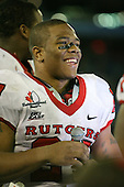 """January 5th, 2008:  MVP Ray Rice (27) takes a break in his speech to listen to the crowd chant """"one more year"""" after the International Bowl at the Rogers Centre in Toronto, Ontario Canada...Rutgers defeated Ball State 52-30.  ..Photo By:  Mike Janes Photography"""