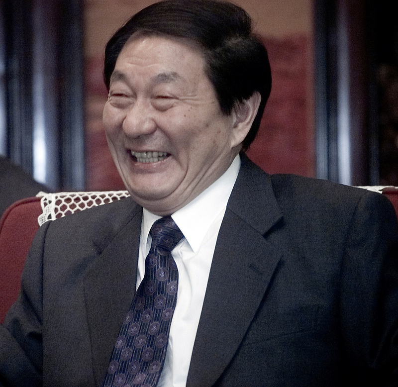 Former Chinese Premier Zhu Rongji at a meeting in Zhongnanhai, the residence of China's leadreship in Beijing.