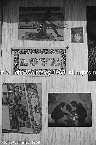 Posters and photos on bedroom walls, Summerhill school, Leiston, Suffolk, UK. 1968.