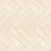 """Herringbone 3"""" x 12"""" , a hand-cut stone mosaic, shown in honed in Ivory Cream."""