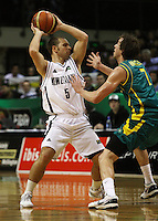 Tall Blacks guard Mike Fitchett looks to pass around Joe Ingles during the International basketball match between the NZ Tall Blacks and Australian Boomers at TSB Bank Arena, Wellington, New Zealand on 25 August 2009. Photo: Dave Lintott / lintottphoto.co.nz