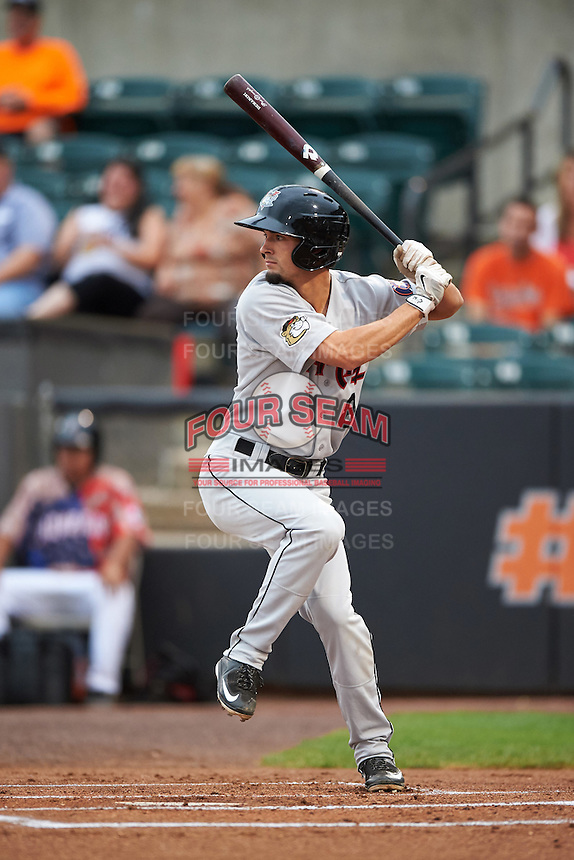 Tri-City ValleyCats outfielder Aaron Mizell (8) at bat during a game against the Aberdeen Ironbirds on August 6, 2015 at Ripken Stadium in Aberdeen, Maryland.  Tri-City defeated Aberdeen 5-0 in a combined no-hitter.  (Mike Janes/Four Seam Images)