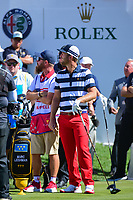 Kevin Chappell (USA) has some fun with the Team U.S.A. crowd before round 4 Singles of the 2017 President's Cup, Liberty National Golf Club, Jersey City, New Jersey, USA. 10/1/2017. <br /> Picture: Golffile | Ken Murray<br /> <br /> All photo usage must carry mandatory copyright credit (&copy; Golffile | Ken Murray)