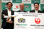 "September 11, 2017, Tokyo, Japan - Japan Airlines (JAL) president Yoshiharu Ueki (R) smiles with World's largest travel site operator TripAdvisor president Stephen Kaupher (C) and TripAdvisor Japanese manager Tomoe Makino (L) at the JAL headquarters in Tokyo on Monday, September 11, 2017. TripAdvisor and JAL announced a strategic partnership and JAL will launch a website of ""Untold Stories of Japan"" on the TripAdvisor website from October for the promotion of tourism in Japan. (Photo by Yoshio Tsunoda/AFLO) LWX -ytd-"