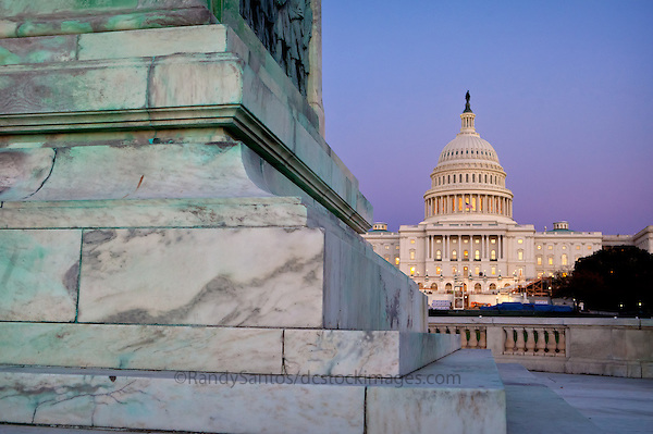 US Capitol Building Washington DC US Capitol Washington DC<br /> The United States Capitol building is located on Capitol Hill at the East end of the National Mall in Washington D.C.. The US Capitol building is among the most symbolically important and architecturally impressive buildings in the United States. It has housed the meeting chambers of the House of Representatives and the Senate for two centuries. An example of 19th-century neoclassical architecture. Architectural details include, columns, porticos, arches, steps, the capitol dome, rotunda. A Washington DC landmark and national icon it is a popular tourist attraction and travel destination in Washington DC.