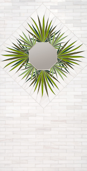 "Custom Looking Glass panel, a hand-cut and waterjet mosaic, shown in shades of green Serenity glass and 2"" x 8' polished Dolomite bricks. Designed by Joni Vanderslice as part of the J. Banks Collection for New Ravenna."
