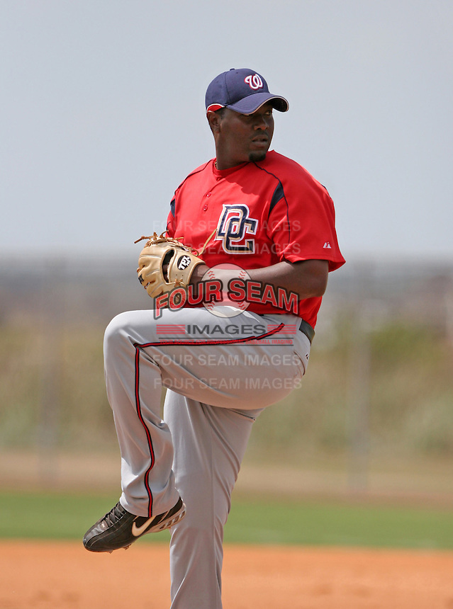 Washington Nationals minor leaguer Anastacio Martinez during Spring Training at the Carl Barger Training Complex on March 19, 2007 in Melbourne, Florida.  (Mike Janes/Four Seam Images)