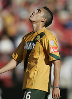 13 November 2005:  Herculez Gomez of the LA Galaxy disappoints after missing a goal against NE Revolution at Pizza Hut Park in Frisco, Texas.   Los Angeles Galaxy defeated New England Revolution, 1-0 in double overtime to win MLS Cup 2005.