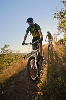 Mountain bikers on the On the Edge trail in Copper Harbor Michigan.