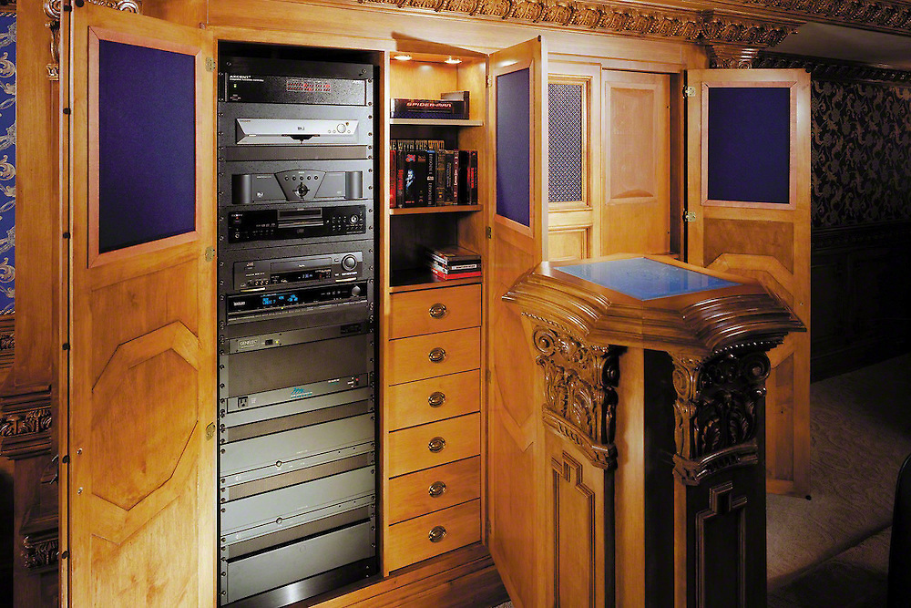 Custom Cabinetry With Lighted Columns