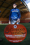 Ross Perry promotes the Halloween activities for supporters at Ibrox for the Cup game next week