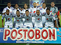PEREIRA - COLOMBIA - 24-09-2014: Los jugadores de Millonarios posan para una foto durante partido Aguilas Doradas y Millonarios por la fecha 11 de La Liga Postobon II 2014, jugado en el estadio Hernan Ramirez Villegas de la ciudad de Pereira. / The players of Millonarios  pose for a photo during a match Aguilas Doradas and Millonarios for the date 11 for La Liga Postobon II 2014, in the Hernan Ramirez Villegas stadium in Pereira City. Photo: VizzorImage / Juan C Quintero / Str.