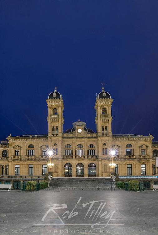 Spain, San Sebastian, City Hall at Dawn