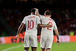 England's Raheem Sterling (L) and Kieran Trippier (R) celebrate goal during UEFA Nations League 2019 match between Spain and England at Benito Villamarin stadium in Sevilla, Spain. October 15, 2018. (ALTERPHOTOS/A. Perez Meca)