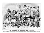 """""""The government are in fighting trim"""" (Ministerial Speech). With the artist's heartfelt congratulations to those other gallant warriors who, from exigencies of space, have escaped inclusion in the artist's above battle-picture. (an Edwardian cartoon shows Winston Churchill and Lloyd George as pirates at the head of a militarised government cabinet)"""