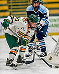 30 November 2018: University of Vermont Catamount Forward Alyssa Gorecki, a Senior from Monee, IL, works the puck behind the Maine net in second period action against the University of Maine Black Bears at Gutterson Fieldhouse in Burlington, Vermont. The Lady Cats were edged out by the Bears 2-1 in the first game of their 2-game Hockey East series. Mandatory Credit: Ed Wolfstein Photo *** RAW (NEF) Image File Available ***