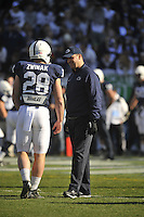 17 November 2012:  Penn State coach Bill O'Brien smiles as he talks with RB Zach Zwinak (28). The Penn State Nittany Lions vs. the Indiana Hoosiers at Beaver Stadium in State College, PA.