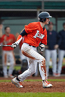 Illinois Fighting Illini outfielder Justin Parr #15 at bat during a game against the Notre Dame Fighting Irish at the Big Ten/Big East Challenge at Walter Fuller Complex on February 17, 2012 in St. Petersburg, Florida.  (Mike Janes/Four Seam Images)