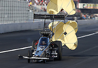 Feb. 15, 2013; Pomona, CA, USA; NHRA top fuel dragster driver Spencer Massey during qualifying for the Winternationals at Auto Club Raceway at Pomona. Mandatory Credit: Mark J. Rebilas-