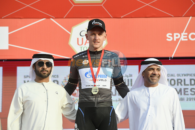 Stepan Kuriyanov (RUS) Gazprom–Rusvelo takes over the sprints Black Jersey at the end of Stage 2 of the 2019 UAE Tour, running 184km form Yas Island Yas Mall to Abu Dhabi Breakwater Big Flag, Abu Dhabi, United Arab Emirates. 25th February 2019.<br /> Picture: LaPresse/Fabio Ferrari | Cyclefile<br /> <br /> <br /> All photos usage must carry mandatory copyright credit (© Cyclefile | LaPresse/Fabio Ferrari)