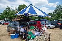 "Henley on Thames, United Kingdom, 3rd July 2018, Thursday, Picnicking at  ""Henley Royal Regatta"",   , Henley Reach, River Thames, Thames Valley, England, UK. © Peter SPURRIER,"