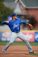 Hartford Yard Goats third baseman Josh Fuentes (13) throws to first base during a game against the Erie SeaWolves on August 6, 2017 at UPMC Park in Erie, Pennsylvania.  Erie defeated Hartford 9-5.  (Mike Janes/Four Seam Images)