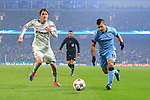 Sergio Aguero of Manchester City powers past Mario Fernandes of CSKA - Manchester City vs. CSKA Moscow - UEFA Champions League - Etihad Stadium - Manchester - 05/11/2014 Pic Philip Oldham/Sportimage