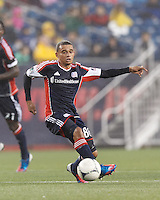 New England Revolution forward Fernando Cardenas (80) passes the ball. In a Major League Soccer (MLS) match, the New England Revolution defeated Chicago Fire, 2-0, at Gillette Stadium on June 2, 2012.