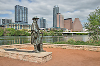 Stevie Ray Vaughan statue an iconic site on Ladybird Lake with the Austin skyline in the background is a great place to capture a image of the city.