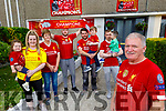 Jack Moriarty stands with his family in St Brendan's Park as 3 generations celebrate Liverpools winning the Premiership. <br /> Front right: Jack Moriarty. <br /> Back l to r: Ruby, Shauna and Sinead Moriarty, Cian Connor, Tommy, Jamie, Rian and Fergal Moriarty.