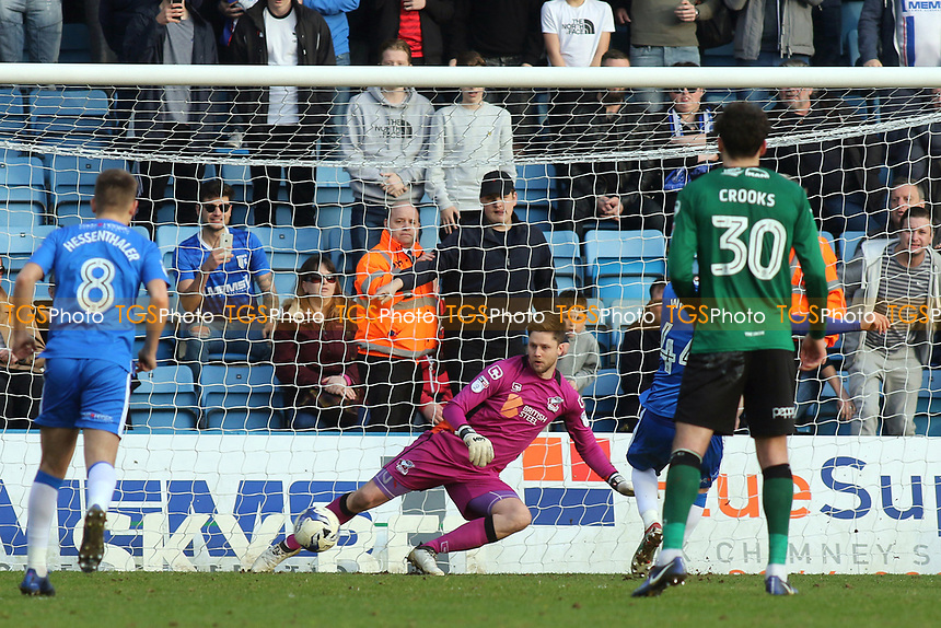 Gillingham's Josh Wright scores his second goal and penalty during Gillingham vs Scunthorpe United, Sky Bet EFL League 1 Football at the MEMS Priestfield Stadium on 11th March 2017