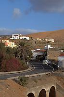 Narrow road leading to Pajara, Fuerteventura, Canary Islands,Spain.
