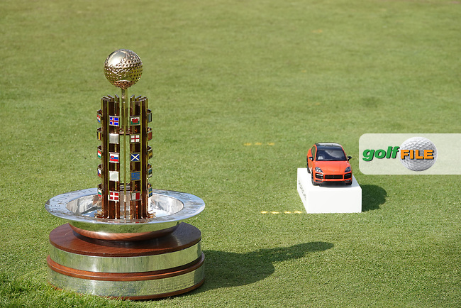 The trophy on the 1st tee during the final round of the Porsche European Open , Green Eagle Golf Club, Hamburg, Germany. 08/09/2019<br /> Picture: Golffile | Phil Inglis<br /> <br /> <br /> All photo usage must carry mandatory copyright credit (© Golffile | Phil Inglis)