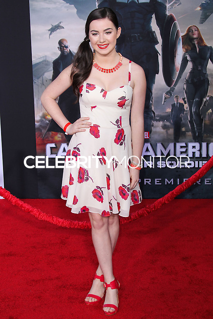 """HOLLYWOOD, LOS ANGELES, CA, USA - MARCH 13: Sarah Gilman at the World Premiere Of Marvel's """"Captain America: The Winter Soldier"""" held at the El Capitan Theatre on March 13, 2014 in Hollywood, Los Angeles, California, United States. (Photo by Xavier Collin/Celebrity Monitor)"""